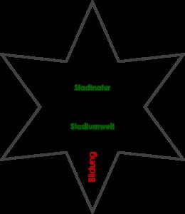 Grafik des Nachhaltigkeitssterns als Erweiterung des Nachhaltigkeitsdreieckes